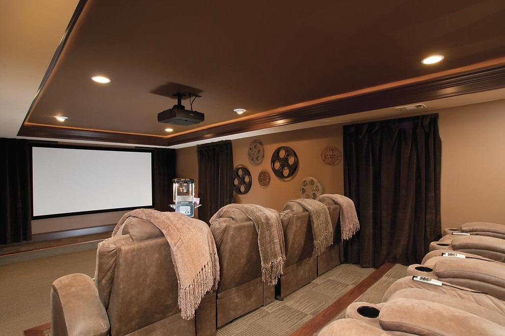 Elegant home theater photo in Atlanta with a projector screen