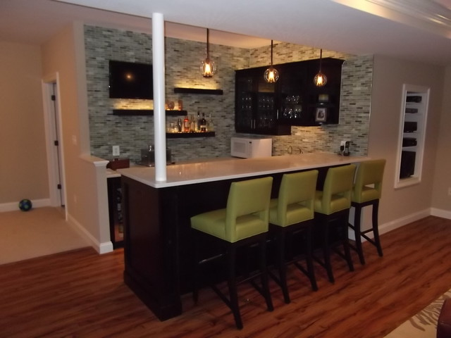 Delightful Basement Bar 1 Modern Home Theater