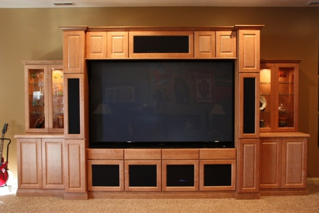 basement entertainment center traditional home theater