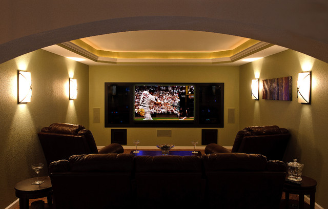 Basement finish theater room traditional home theater for Basement theater room