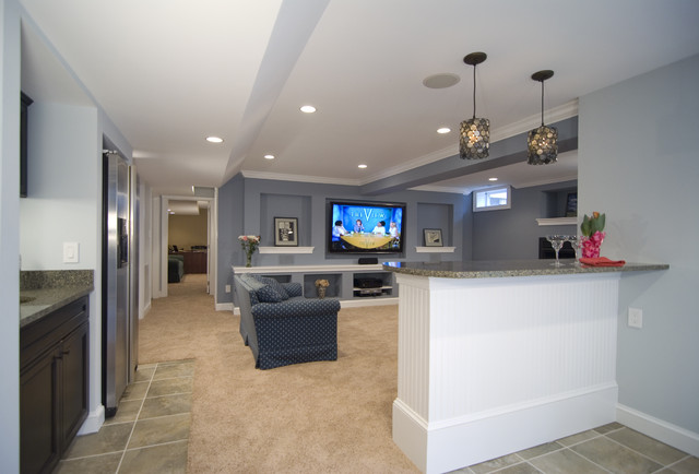 Basement for Entertaining traditional media room