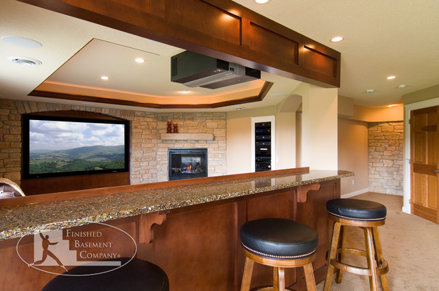 fabric ceiling ideas for basement - Basement Home Theater Traditional Home Theater