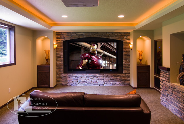 Basement home theater traditional home theater for Home theater basement design ideas