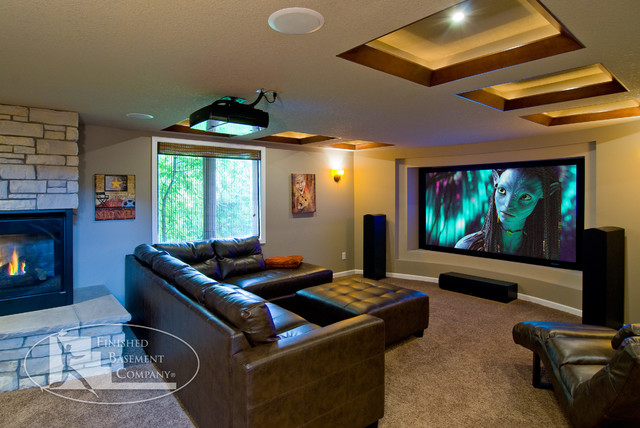 Basement home theater contemporary home theater for Basement home theater plans
