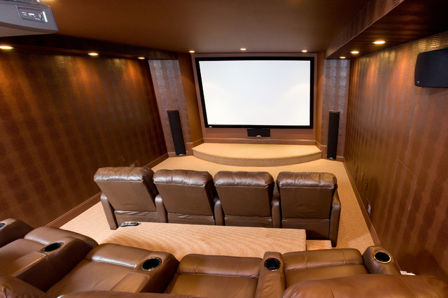 Basement home theater traditional basement other for Basement home theater plans