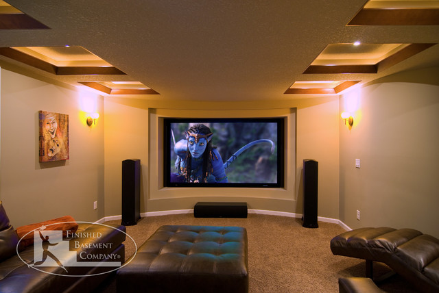 Basement home theater wall contemporary home theater for Basement theater room