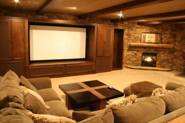 Basement Media Rustic Home Theater Cincinnati By