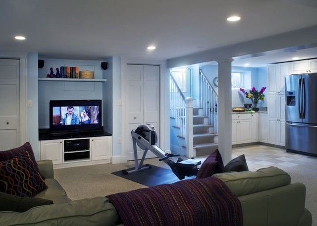 Basement Remodel Contemporary Home Theater Boston