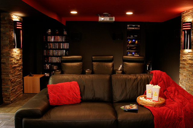 basement theater remodel traditional home theater