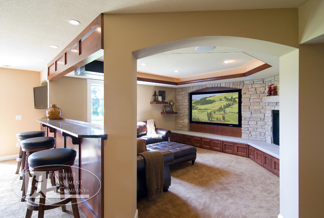 basement tv wall traditional home theater minneapolis by