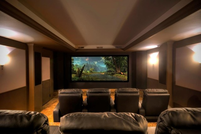 Basement with Theater contemporary-home-theater