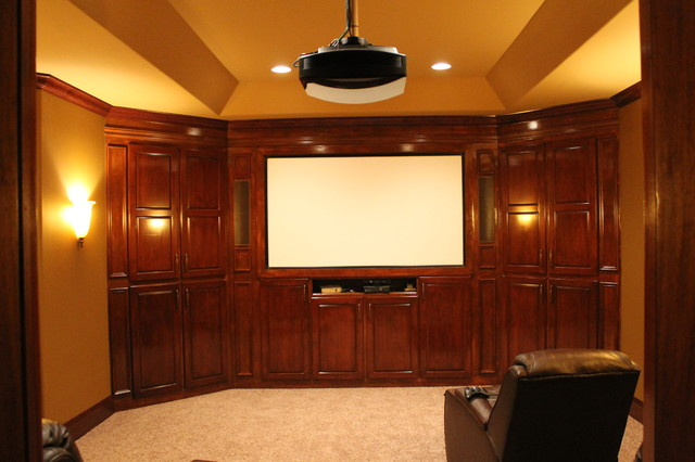 Basic Basement turned Entertainers Dream traditional-home-theater