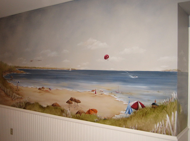 beach mural in Lake Geneva, Wi. beach-style-home-theater