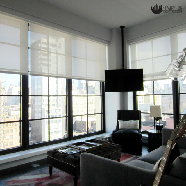 bedroom shades. Bedroom automated shades modern home theater  Modern Home Theater New York by