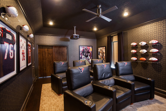 idea to turn the attic into bedroom before and after - Bellaire Residence Contemporary Home Theater Houston