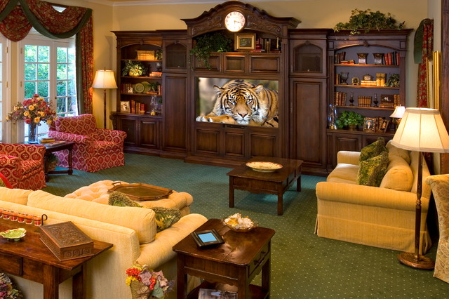 Example Of A Classic Carpeted And Green Floor Home Theater Design In Los  Angeles With A