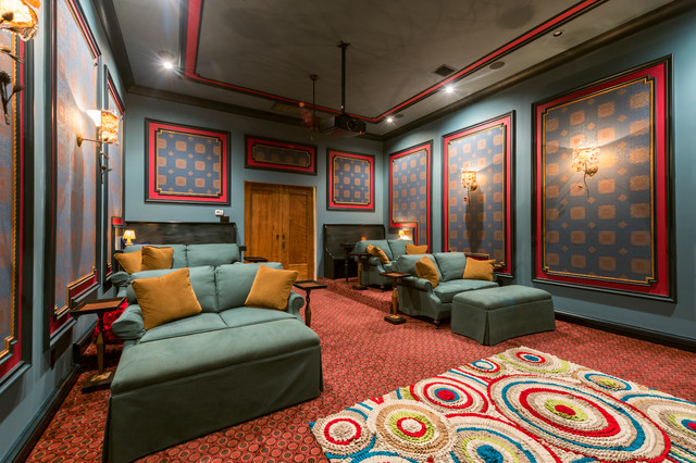 Blue red media room with stadium seating mediterranean - Home theater stadium seating design ...