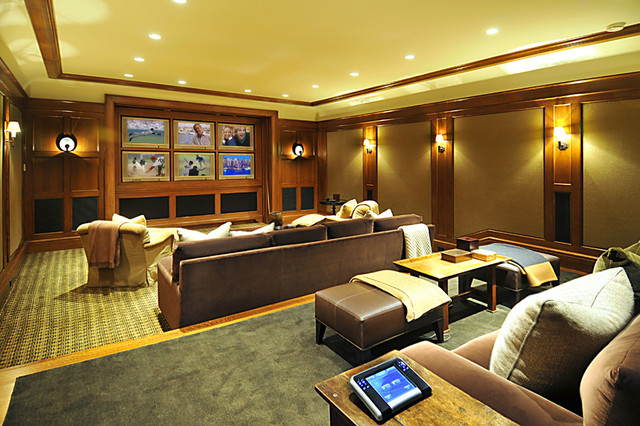 Brentwood Custom Home Theater contemporary-home-theater