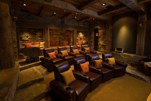 Inspiration For A Rustic Home Theater Remodel In Other