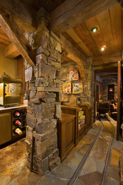 Bridger Canyon Residence rustic-home-theater