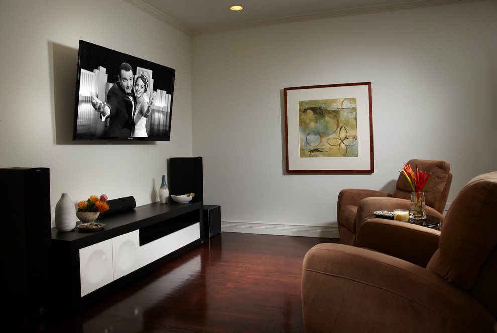 Small trendy enclosed dark wood floor and brown floor home theater photo in Miami with white walls and a wall-mounted tv