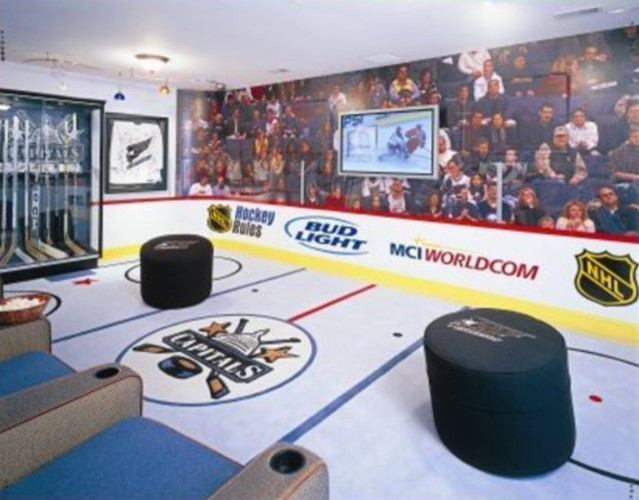 CAPS CRAZY!  Hockey fanatics Media room eclectic media room