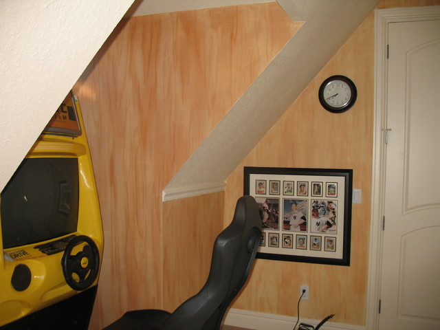 child-like wood grained walls in game room/faux finish/mural home-theater