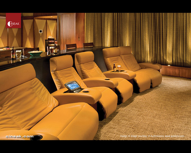 Cineak fortuny in home theater by audio visions modern for Modern theater room