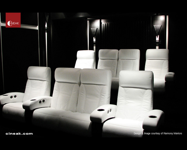 Cineak White Fortuny Seats In Home Theater Modern Home Theater By Cineak Luxury Seating