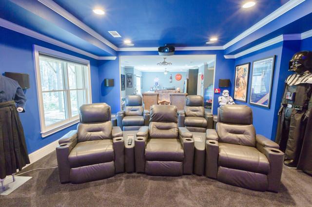 cinema themed basement reno modern home theater atlanta by