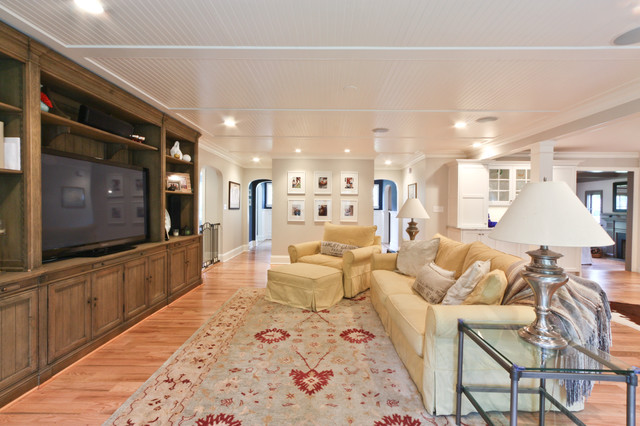Classic Coastal Colonial Renovation - the Anti McMansion contemporary media room