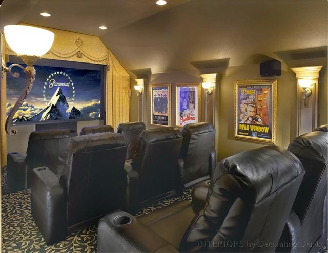Classic style media room traditional-home-theater