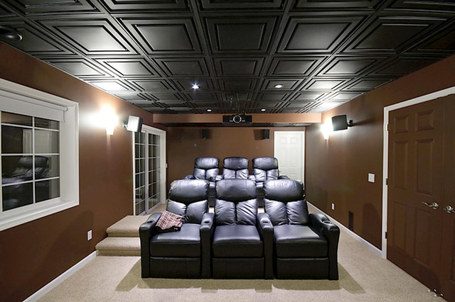 Clean Lines and Deep Tones - Home Theater - by Ceilume Ceiling Tiles