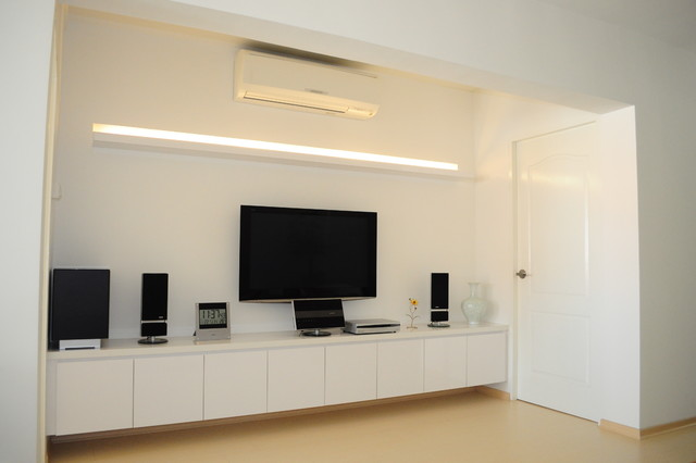 clean white simple chic minimal yet exclusive contemporary home theater chic white home