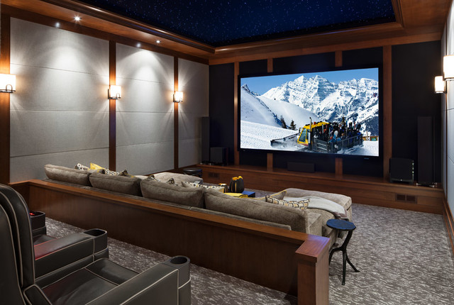 Colorado Ski House transitional-home-theater