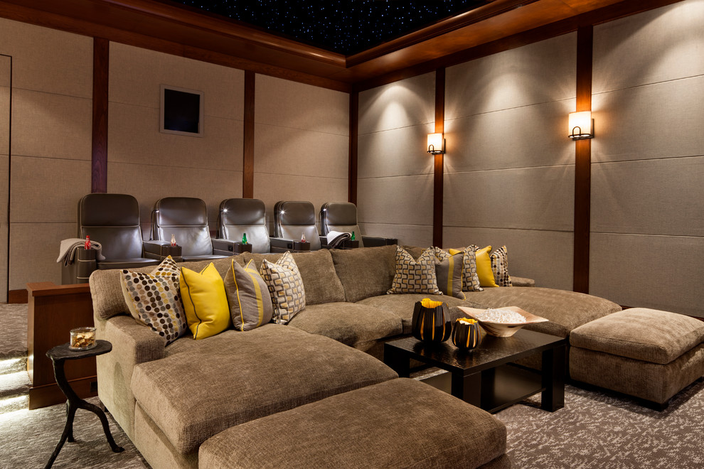 Example of a transitional enclosed carpeted home theater design in Philadelphia