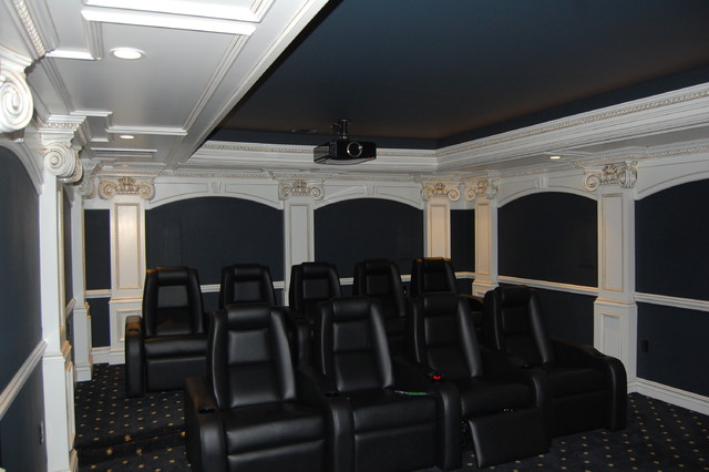 Inspiration for a victorian home theater remodel in New York