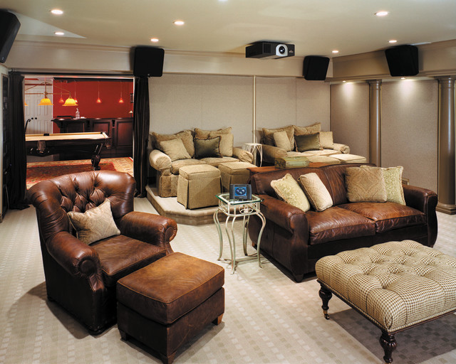 Comfortable Media Room Contemporary Home Theater