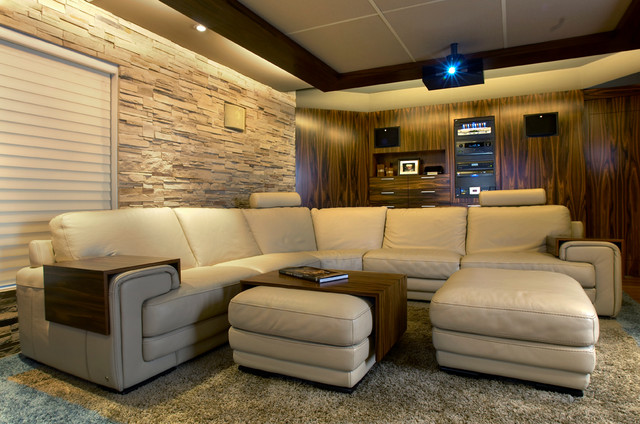 comfy home theatre and family room modern home theater montreal by maria deschamps design. Black Bedroom Furniture Sets. Home Design Ideas