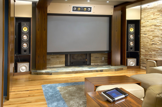Comfy Home Theatre And Family Room Modern Theater