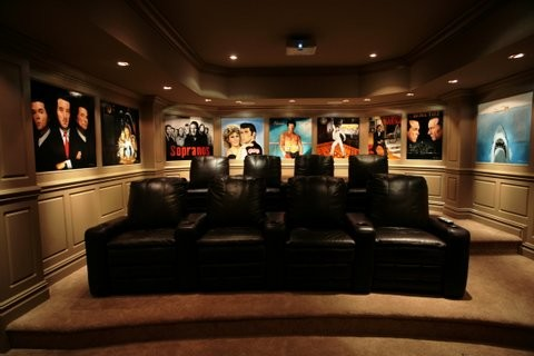 Completed Living Room Projects transitional-home-theater
