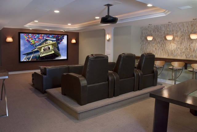 Contemporary family entertainment contemporary home for Home theater seating design ideas