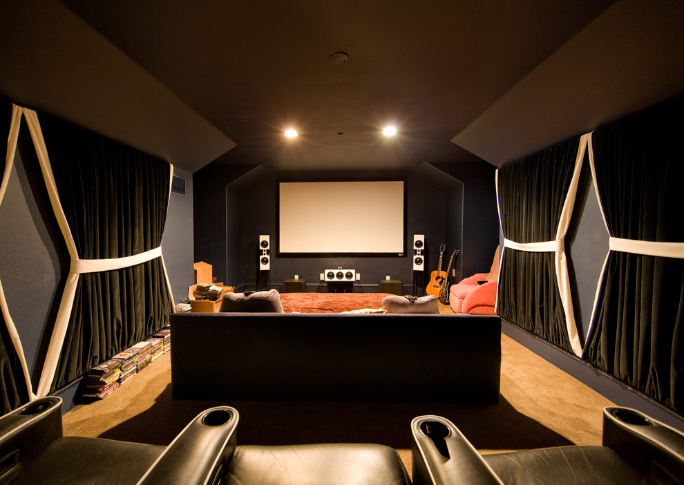 Trendy home theater photo in Other with black walls