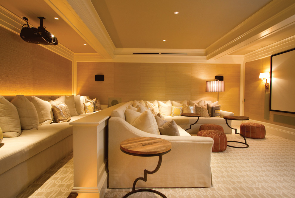 Elegant beige floor home theater photo in New York with a projector screen