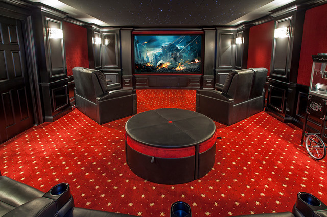 Home Theater Traditional Enclosed Carpeted And Red Floor Idea In Cincinnati With