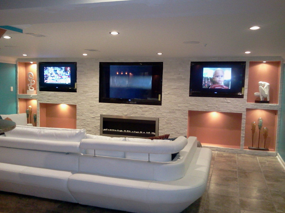 Example of a trendy home theater design in DC Metro