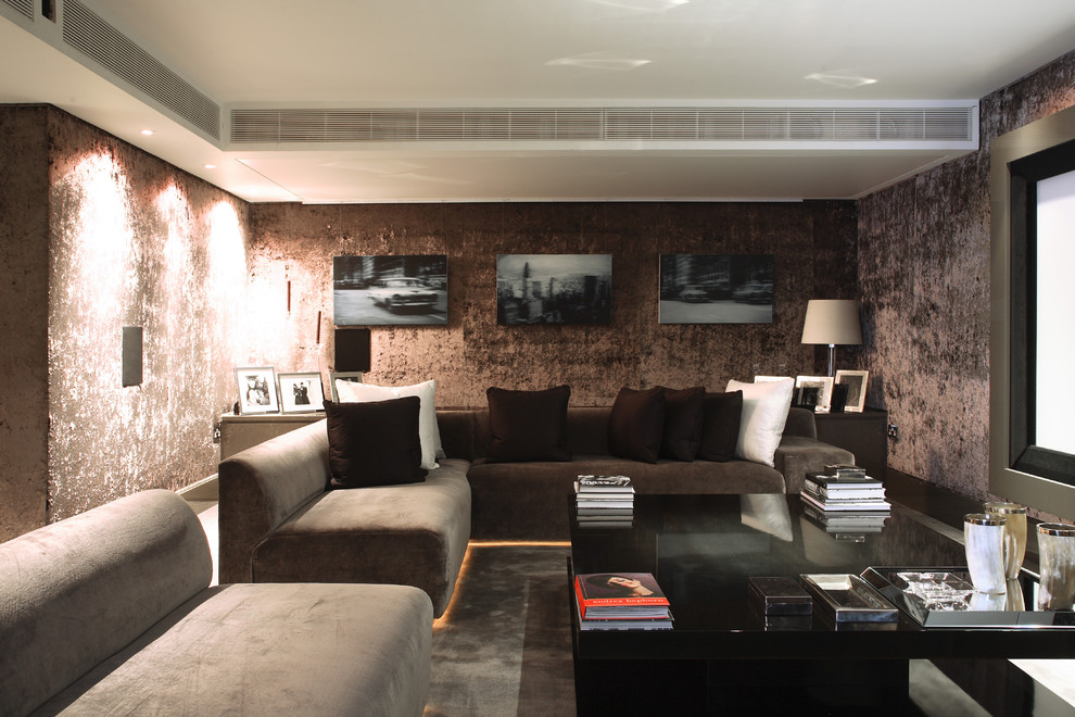 Home theater - contemporary home theater idea in London