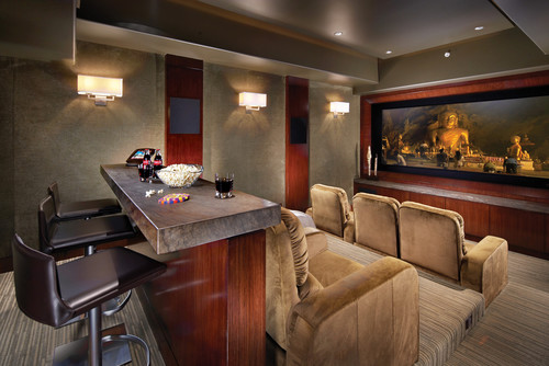 Contemporary Media Room By Newport Beach Interior Designers Decorators Wendi Young Design Bar Seating Is Typically Implemented In A Home Theater