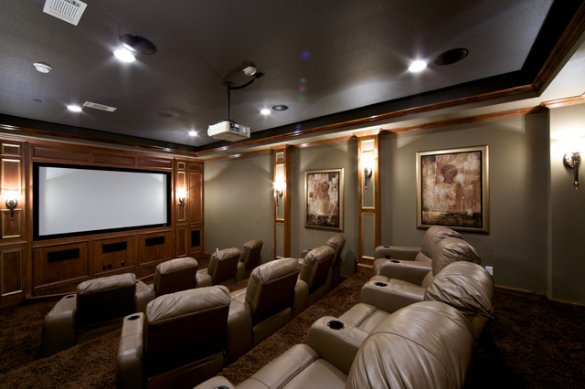 Converted Garage To Media Room Traditional Home Cinema