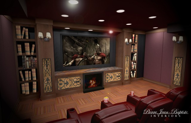 Cozy Home Theater with a fireplace traditional media room